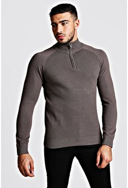 Mens Grey Regular Fit Half Zip Turtle Neck Knitted Jumper