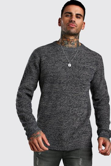 Navy Regular Fit Crew Neck Fisherman Knitted Jumper
