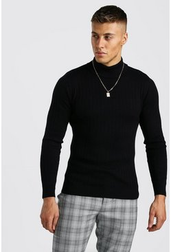 Mens Black Regular Fit Long Sleeve Knitted Roll Neck Jumper