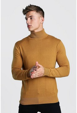Mens Camel Regular Fit Long Sleeve Knitted Roll Neck Jumper