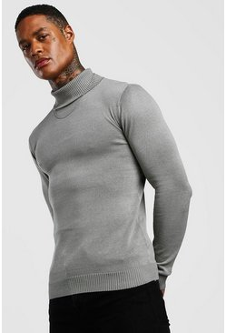 Regular Fit Long Sleeve Knitted Roll Neck Jumper, Grey