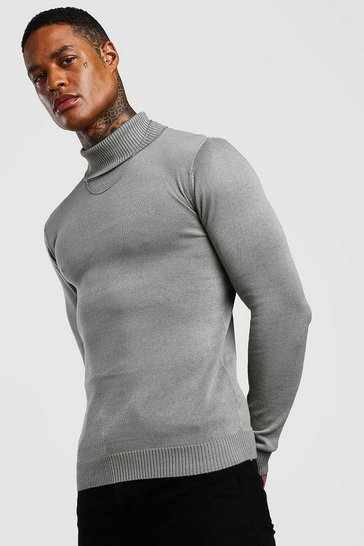 Grey Regular Fit Long Sleeve Knitted Roll Neck Jumper