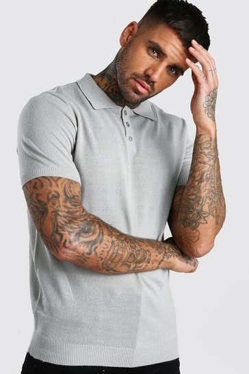 Mens Grey Regular Fit Short Sleeved Knitted Polo