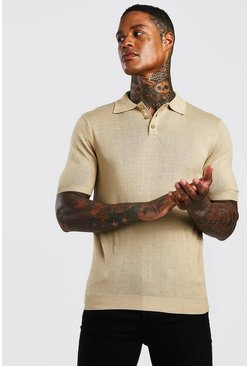 Kurzärmeliges Poloshirt aus Strick in Regular Fit, Taupe