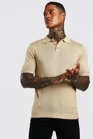 Mens Taupe Regular Fit Short Sleeved Knitted Polo