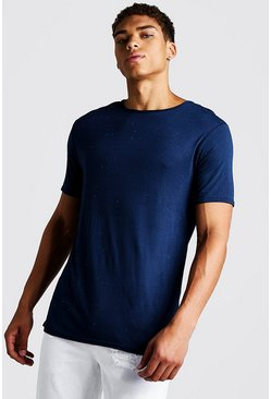 Navy Muscle Fit Nepped T-Shirt