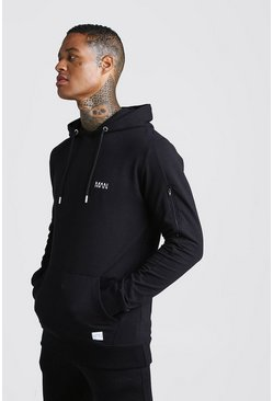 Herr Black MAN Active Muscle Fit Hoodie With Seam Detail