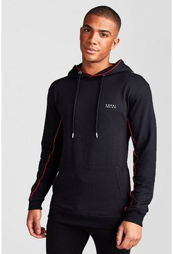 Black MAN Active Muscle Fit Hoodie With Piping Detail