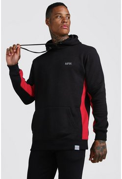 Black MAN Active Longline Hoodie With Panels