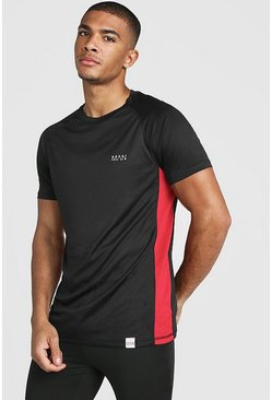 Black MAN Active Muscle Fit Raglan Mesh Panel T-Shirt