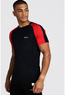Mens Black MAN Active Poly Colour Block T-Shirt