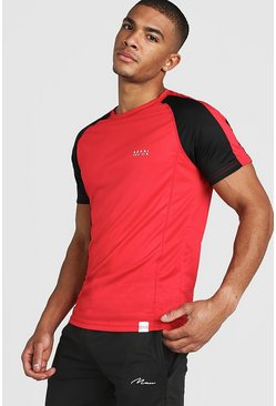 Red MAN Active Poly Colour Block T-Shirt