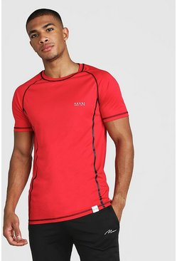 Mens Red MAN Active Poly Raglan T-Shirt With Seam Detail