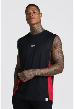 Black MAN Active Panelled Drop Armhole Tank With Mesh Detailing