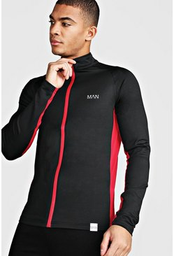 Black MAN Active Muscle Fit Zip Through Track Top