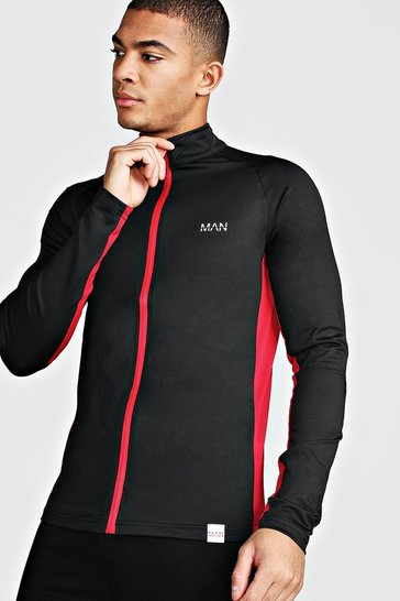 Mens Black MAN Active Muscle Fit Zip Through Track Top