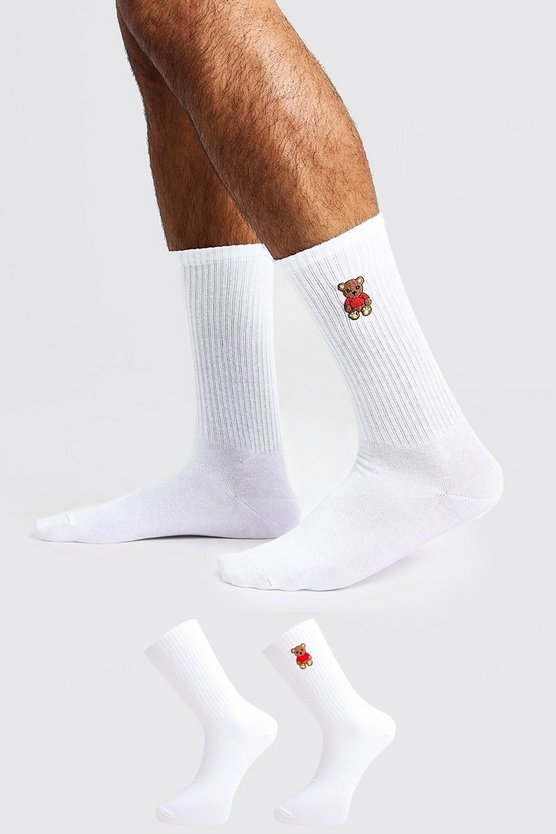 Mens White 2 Pack Teddy Embroidered Tube Socks