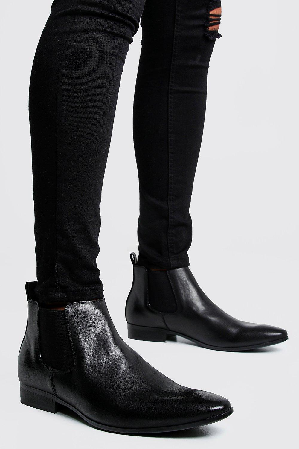 mens leather look chelsea boots - black