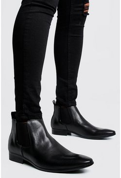 Leather Look Chelsea Boots, Black, HOMBRE