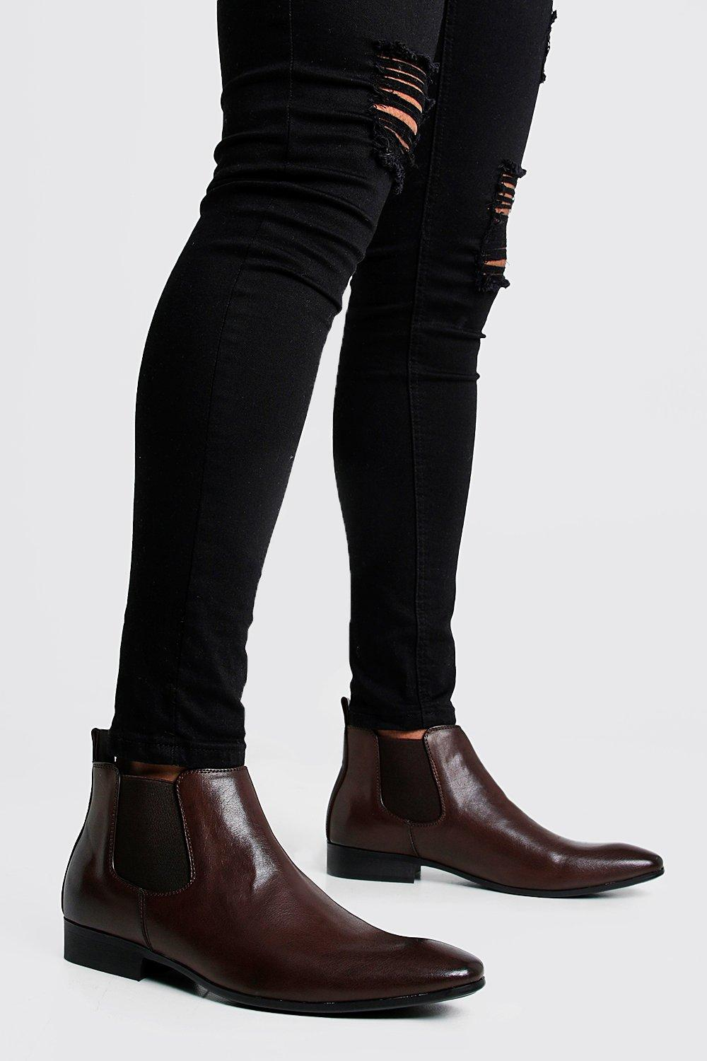 mens leather look chelsea boots - brown
