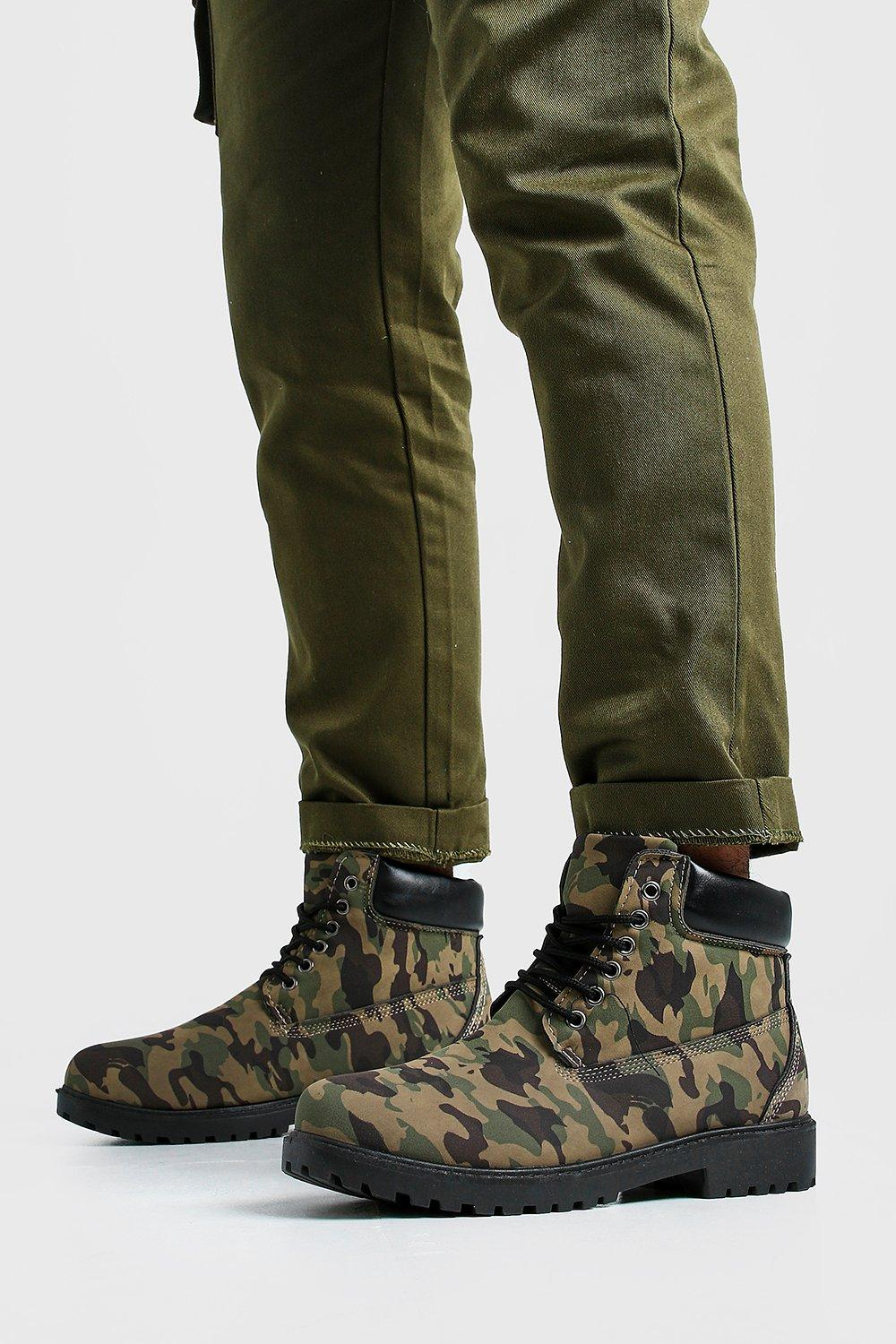 mens camo worker boots - multi