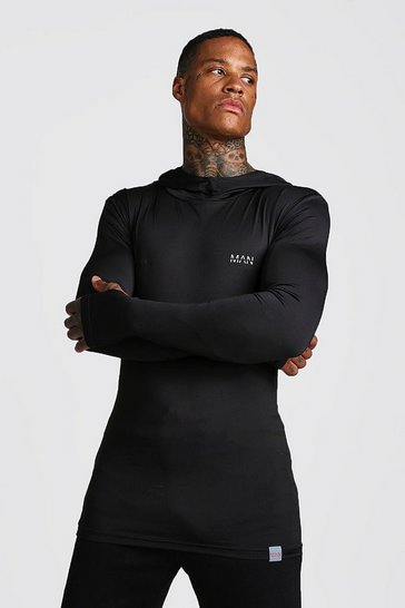 Mens Black MAN Active Compression Hoodie