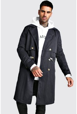 Mens Navy Trench Coat With Shoelace Belt