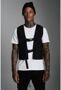 Mens Black Nylon Utility Vest With Buckles