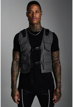 Mens Charcoal Nylon Utility Vest With Buckles