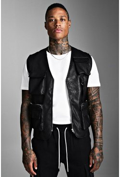 Mens Black Faux Leather Utility Vest