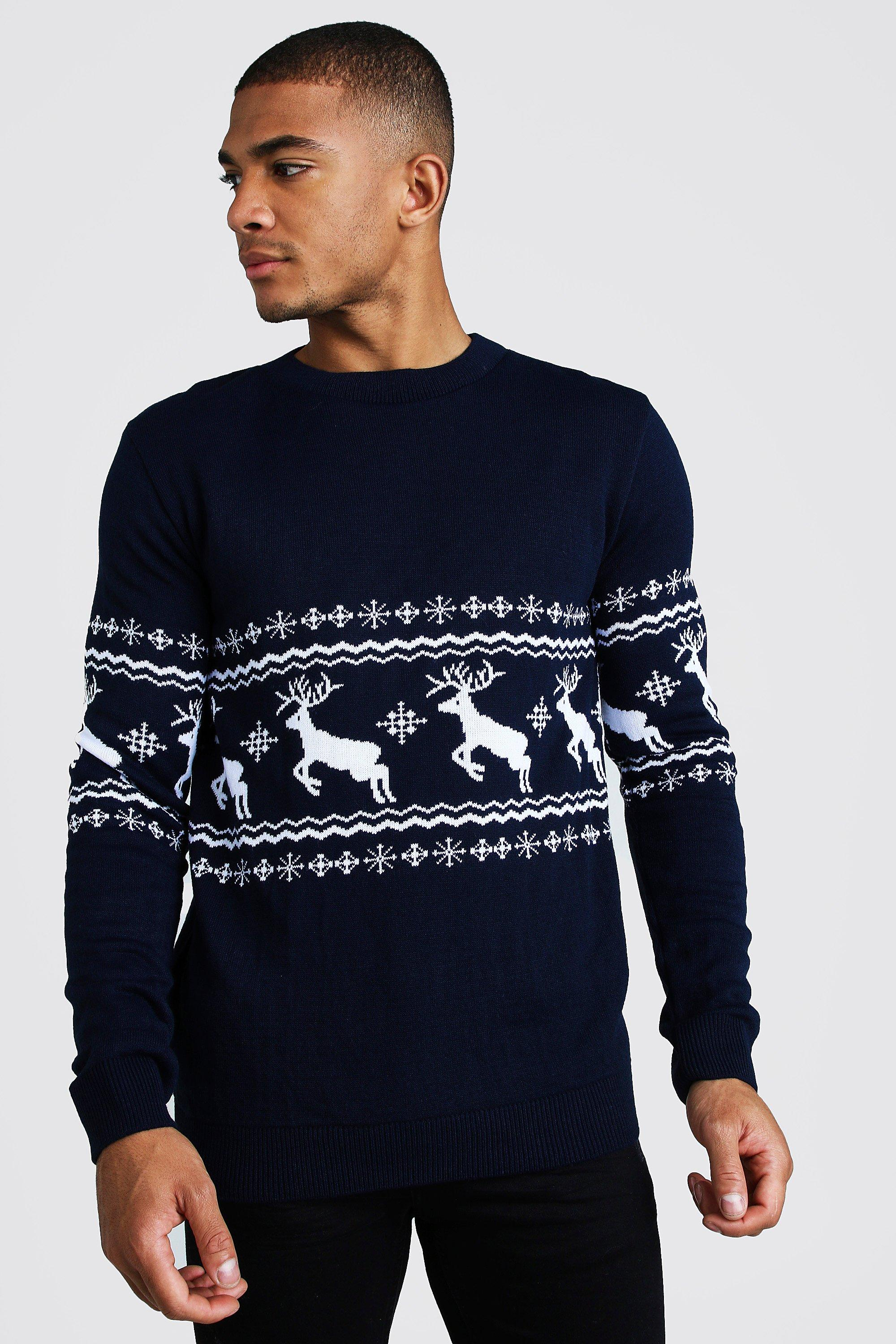 1940s Style Mens Shirts, Sweaters, Vests Mens Muscle Fit Reindeer Fairisle Christmas Sweater - Navy $32.00 AT vintagedancer.com
