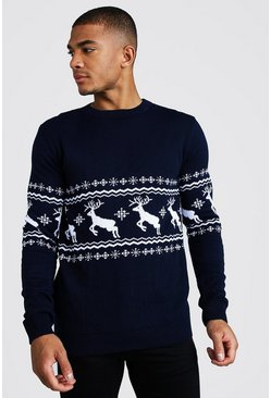Mens Navy Muscle Fit Reindeer Fairisle Christmas Jumper