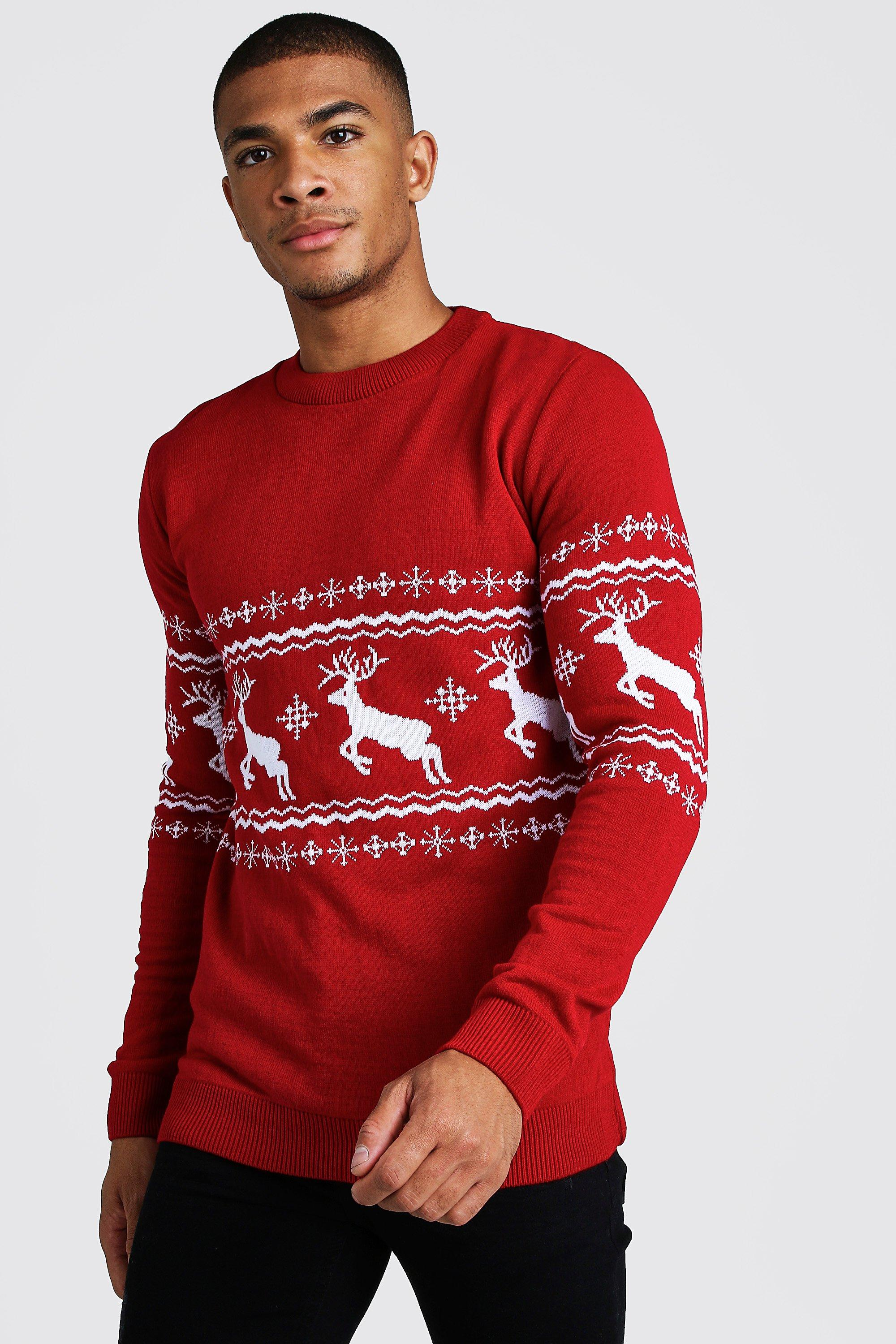 1940s Style Mens Shirts, Sweaters, Vests Mens Muscle Fit Reindeer Fairisle Christmas Sweater - Red $32.00 AT vintagedancer.com