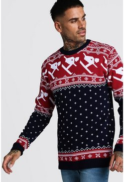 Mens Navy Skiing Fairisle Christmas Jumper