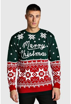 Mens Green Merry Christmas Fairisle Jumper