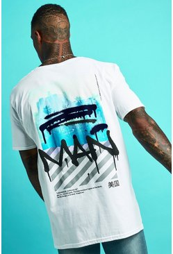 Mens White Oversized MAN Graffiti LA Print T-Shirt