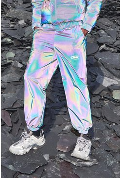 Mens Iridescent MAN Rainbow Reflective Jogger