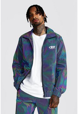 Mens Iridescent MAN Rainbow Reflective Track Jacket