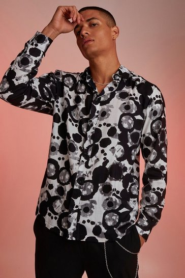 Mens Black Viscose Long Sleeve Abstract Print Shirt