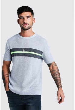 Mens Grey Regular Fit Knitted T-Shirt With Neon Stripe