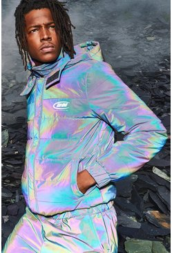 Mens Iridescent MAN Rainbow Reflective Puffer Coat