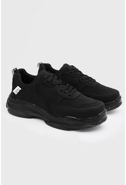 Herr Black Chunky sneakers med matt finish