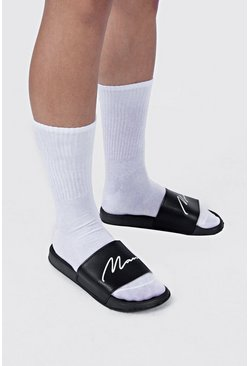 Mens Black MAN Script Sliders