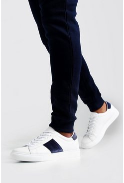Herr Navy Velvet Side Tape Trainers