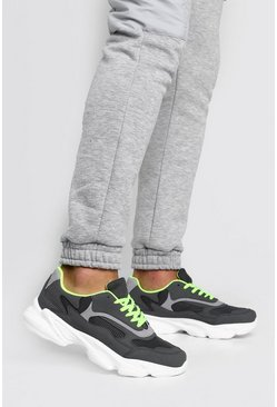 Grey Neon Lined Chunky Trainer