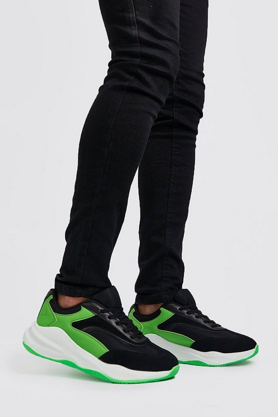 Neon-green Neon Sole Chunky Trainer