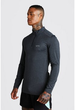Mens Black MAN Active Long Sleeve Running Top