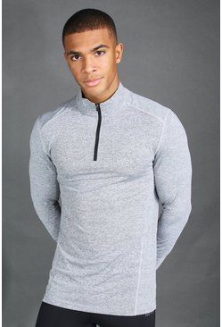 Mens Charcoal MAN Active Long Sleeve Running Top