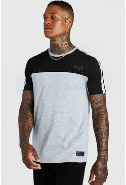 Mens Grey MAN Roman Colour Block Tape T-Shirt