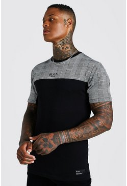 T-shirt jacquard à empiècement à carreaux Muscle Fit MAN, Noir, Homme